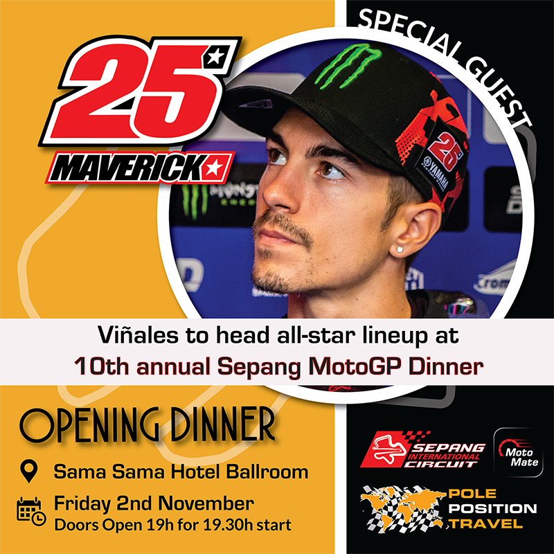 Maverick Vinales featuring at the Opening party in Sepang